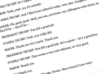 An actual section of the leaked full transcript of a Wall Street Journal interview of Trump in 2017, which included then-editor-in-chief Gerard Baker.