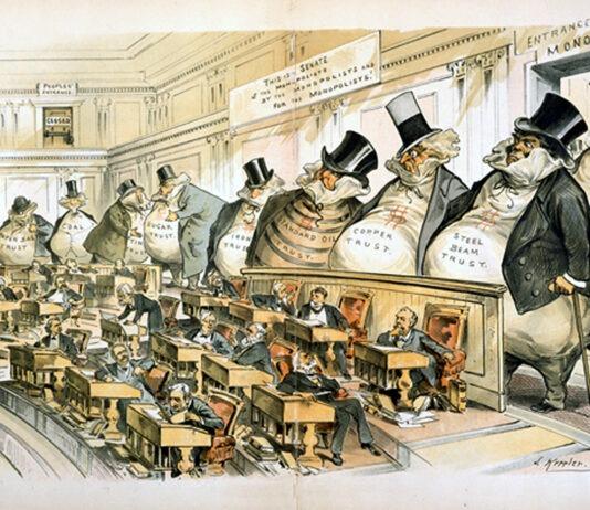 A political cartoon from the muckraking era, by Joseph Keppler for Puck.