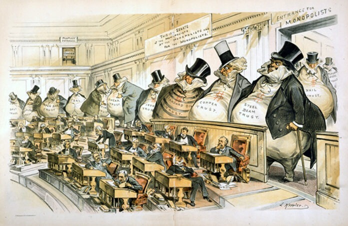 A political cartoon from the muckraking era, by Joseph Keppler for Puck.