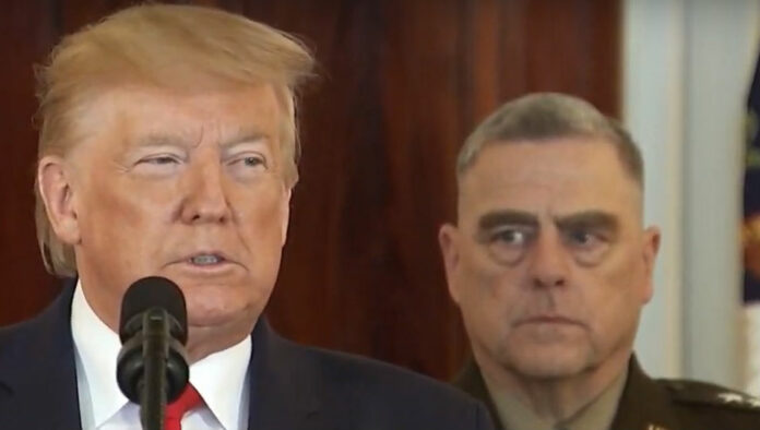 Trump at the White House on January 8, 2020, with Gen. Mark MIlley, chairman of the Joint Chiefs of Staff.